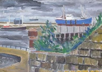 Marjorie Mort Original Oil Painting Harbour Scene With Boats